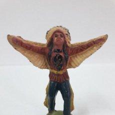 Figuras de Goma y PVC: BRUJO - HECHICERO INDIO . FIGURA REAMSA Nº 21 . ORIGINAL AÑOS 50 EN GOMA. Lote 112885123