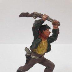 Figuras de Goma y PVC: VAQUERO - COWBOY ATACANDO CON EL RIFLE . FIGURA REAMSA Nº 61 . AÑOS 50 EN GOMA. Lote 112886107