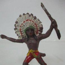 Figuras de Goma y PVC: FIGURA GUERRERO INDIO, CON RIFLE - MARCA JECSAN - AÑOS 60-70. Lote 113606843