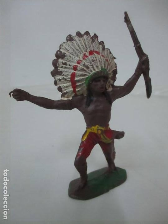 Figuras de Goma y PVC: Figura Guerrero Indio, con Rifle - Marca Jecsan - Años 60-70 - Foto 2 - 113606843