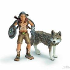 Figuras de Goma y PVC: SCHLEICH FANTASIA BAYALA GREGIS 70431 GUERRERO CON LOBO. Lote 113821539