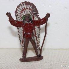 Figuras de Goma y PVC: JEFE INDIO CON LANZA COMANSI AÑOS 60. Lote 114287923