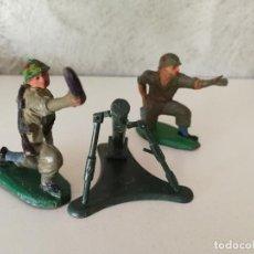 Figuras de Goma y PVC: CONJUNTO ARTILLERÍA MORTERO AMERICANOS PECH EN GOMA AÑOS 50. Lote 114960159