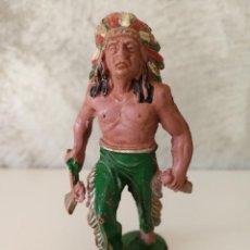 Figuras de Goma y PVC: JEFE INDIO EN GOMA DE LAFREDO AÑOS 50. Lote 115034491