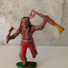 Figuras de Goma y PVC: GUERRERO INDIO EN GOMA DE LAFREDO AÑOS 50. Lote 115034523