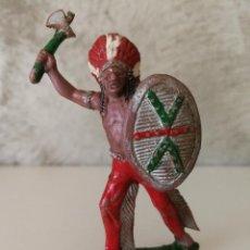 Figuras de Goma y PVC: JEFE INDIO CON ESCUDO EN GOMA DE LAFREDO AÑOS 50. Lote 115034571