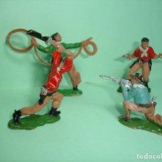 Figuras de Goma y PVC: REAMSA, VAQUEROS DE PLÁSTICO REF. 58,60,61,62 AÑOS 60. Lote 115419971