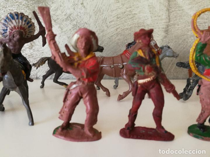 Figuras de Goma y PVC: LOTE INDIOS Y VAQUEROS EN GOMA PECH JECSAN - Foto 5 - 116093427