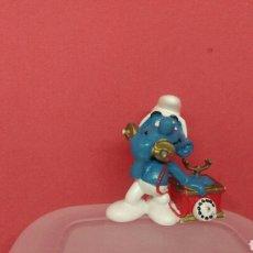 Figuras de Goma y PVC: ANTIGUA FIGURA PITUFO TELEFONO AÑO 1980 MARCA SCHLEICH PEYO. Lote 116642583