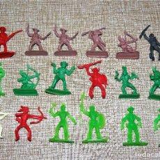 Figuras de Goma y PVC: LOTE DE ANTIGUAS FIGURAS PEQUEÑAS DEL OESTE. INDIOS, VAQUEROS, PLÁSTICO. Lote 116783631