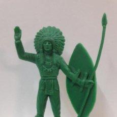Figuras de Goma y PVC: JEFE INDIO. REALIDADO EN PLASTICO MONOCOLOR . ALTURA 10,7 CM. Lote 116819151