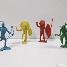 Figuras de Goma y PVC: GUERREROS INDIOS . REALIZADOS EN PLASTICO MONOCOLOR . AÑOS 60 / 70. Lote 116932051