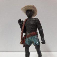 Figuras de Goma y PVC: ASKARI CON SOMBRERO Y RIFLE DESMONTABLES . REALIZADO POR JECSAN . SERIE SAFARI . AÑOS 50 EN GOMA. Lote 117041419