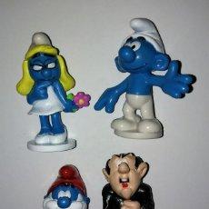 Figuras de Goma y PVC: IMPECABLE LOTE DE 4 FIGURAS DE PITUFOS DE PEYO. PAPA PITUFO, PITUFINA, GARGAMEL CON EL GATO AZRAEL. Lote 128507332
