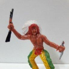 Figuras de Goma y PVC: GUERRERO INDIO . REALIZADO POR M. SOTORES . AÑOS 60. Lote 117749267
