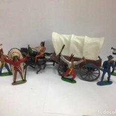 Figuras de Goma y PVC: LOTE 6 FIGURAS 65 CMTS + CARRETA COMANSI FABRICADO EN PVC SERIE TODO OESTE AMERICANO . Lote 118369955