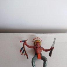 Figuras de Goma y PVC: FIGURA EN GOMA JECSAN OESTE PECH LAFREDO INDIOS Y VAQUEROS JEFE INDIO . Lote 118431155