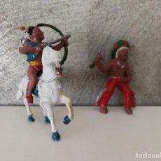 Figuras de Goma y PVC: JINETES INDIOS DE GOMA LAFREDO 40 MM AÑOS 50. Lote 118448759