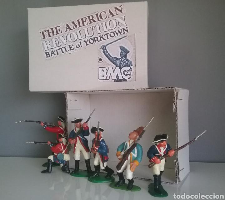 GUERRA REVOLUCIÓN INDEPENDENCIA AMERICANA,BMC SOLDADOS BRITÁNICOS,AMERICANOS Y FRANCÉS ESC. BRITAINS (Juguetes - Figuras de Goma y Pvc - Starlux)
