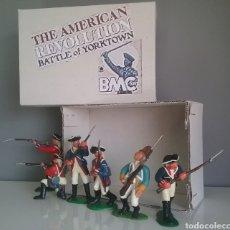 Figuras de Goma y PVC: GUERRA REVOLUCIÓN INDEPENDENCIA AMERICANA,BMC SOLDADOS BRITÁNICOS,AMERICANOS Y FRANCÉS ESC. BRITAINS. Lote 118255502