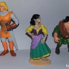 Figuras de Goma y PVC: LOTE DE TRES FIGURAS EN PVC/GOMA MINILAND JOROBADO DE NOTRE DAME,PHOEBUS-FEBO,QUASIMODO,ESMERALDA. Lote 118702699