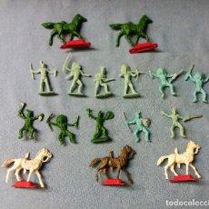 Figuras de Goma y PVC: LOTE DE FIGURAS INDIOS Y CABALLOS DEL MINI OESTE DE COMANSI ORIGINAL AÑOS 60 LOTE 1. Lote 119014139