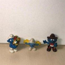 Figuras de Goma y PVC: 3 PITUFOS MUÑECOS DE GOMA 1981. VER DESCRIPCIÓN. Lote 119239347