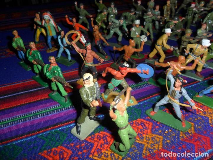 Figuras de Goma y PVC: LOTE 53 FIGURA PLASTICO STARLUX INDIOS HURONES VAQUEROS SOLDADOS AMERICANOS BOINAS ROJAS. MBE RARAS - Foto 4 - 120179743