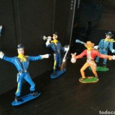 Figuras de Goma y PVC: LOTE 4 FIGURAS COMANSI OESTE , 3 SOLDADOS SEPTIMO CABALLERIA Y UN LADRON. Lote 120331178