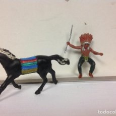 Figuras de Goma y PVC: FIGURA INDIO PECH HERMANOS CABALLO PECH LAFREDO OESTE WESTERN HERMANOS PECH . Lote 120363015