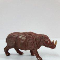 Figuras de Goma y PVC: RINOCERONTE . REALIZADO POR PECH . SERIE FIERAS . AÑOS 50 EN GOMA. Lote 120614851