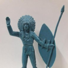 Figuras de Goma y PVC: JEFE INDIO. REALIDADO EN PLASTICO MONOCOLOR . ALTURA 10,7 CM. Lote 120672327