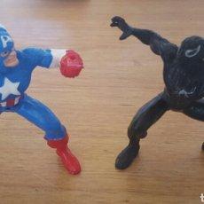 Figuras de Goma y PVC: LOTE 2 MUÑECOS ANTIGUOS DE CAPITAN AMÉRICA Y SPIDERMAN NEGRO. Lote 120914999