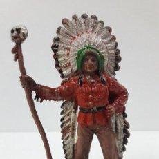 Figuras de Goma y PVC: JEFE INDIO . REALIZADO COMANSI . PRIMERA EPOCA. Lote 121057983