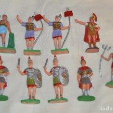 Figuras de Goma y PVC: VINTAGE - LOTE 9 FIGURAS - DE ROMANOS Y GLADIADORES - JECSAN - MADE IN SPAIN - ORIGINAL - HAZ OFER. Lote 121725831