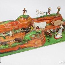Figuras de Goma y PVC: DIORAMA EL GRAN CAÑÓN DEL COLORADO, DE COMANSI - INDIOS Y VAQUEROS DE PLÁSTICO - AÑOS 60. Lote 121736519