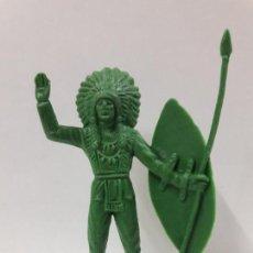 Figuras de Goma y PVC: JEFE INDIO. REALIDADO EN PLASTICO MONOCOLOR . ALTURA 10,7 CM. Lote 121779183
