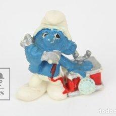 Figuras de Goma y PVC: FIGURITA DE GOMA - PITUFO CON TELÉFONO - SIN MARCA. Lote 121880934