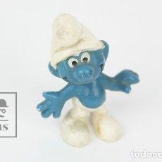 Figuras de Goma y PVC: FIGURITA DE GOMA - PITUFO SONRRIENTE - EURA SPAIN - AÑOS 80. Lote 121880950