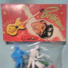 Figuras de Goma y PVC: 4 FIGURAS DE LOS BEATLES MARCA BEATLEMANIA EMIROBER AÑOS 70S SIN ABRIR BLISTER.. Lote 122305907