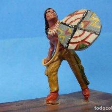 Figuras de Goma y PVC: SOLDADO. INDIO AMERICANO CON ESCUDO.. Lote 122433603