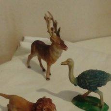 Figuras de Goma y PVC: SERIE ANIMALES DE PECH - ALCE RENO, LEON Y AVESTRUZ . Lote 122563331