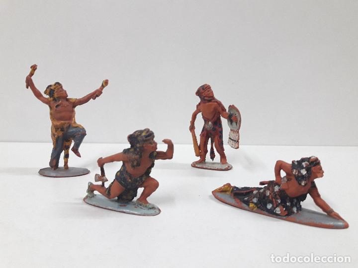 SERIE COMPLETA DE INDIOS AZTECAS . REALIZADOS POR PECH . AÑOS 50 EN GOMA (Juguetes - Figuras de Goma y Pvc - Pech)