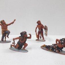 Figuras de Goma y PVC: SERIE COMPLETA DE INDIOS AZTECAS . REALIZADOS POR PECH . AÑOS 50 EN GOMA. Lote 122587283