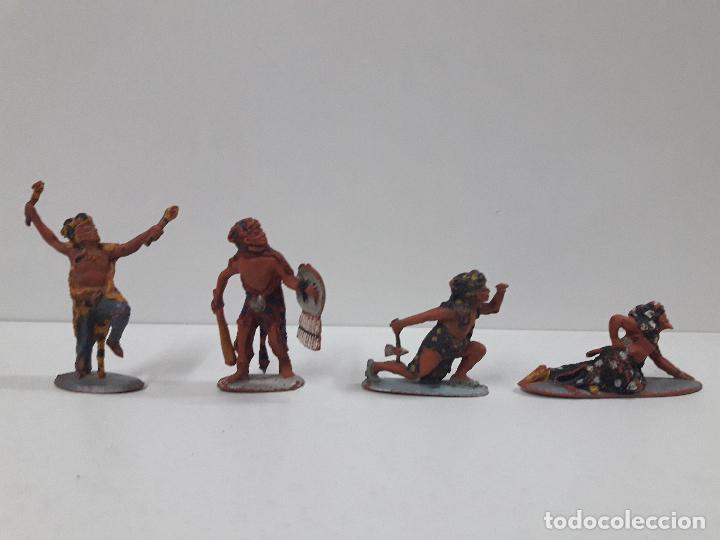Figuras de Goma y PVC: SERIE COMPLETA DE INDIOS AZTECAS . REALIZADOS POR PECH . AÑOS 50 EN GOMA - Foto 2 - 122587283