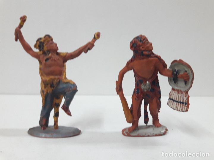 Figuras de Goma y PVC: SERIE COMPLETA DE INDIOS AZTECAS . REALIZADOS POR PECH . AÑOS 50 EN GOMA - Foto 4 - 122587283