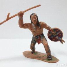 Figuras de Goma y PVC: GUERRERO INDIO - SERIE INDIOS SIOUX . REALIZADO POR REAMSA . AÑOS 60. Lote 123028063