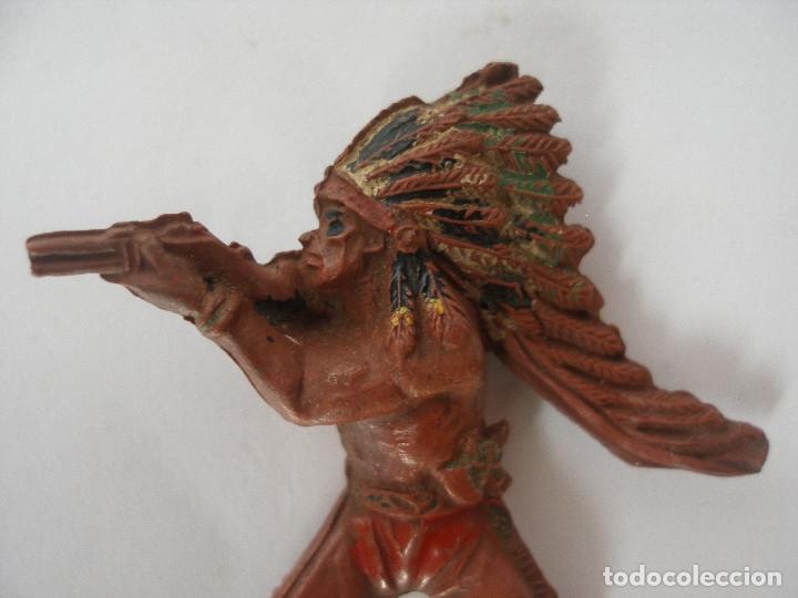 Figuras de Goma y PVC: Guerrero indio goma ( 6,5 cm ) años 50 - Foto 2 - 124265707