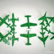 Figuras de Goma y PVC: SERJAN - LOTE DE10 AVIONES - SERJANBOYS - MONTAPLEX - COLOR VERDE. Lote 180843740