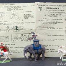 Figuras de Goma y PVC: ELEFANTE Y 2 ROMANOS ROJAS Y MALARET ROMANOS CONTRA CARTAGINESES GRANDES BATALLAS MUNDO AÑOS 60. Lote 125411759